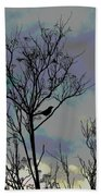 Bird In Tree Silhouette Iv Abstract Beach Towel