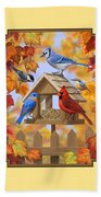 Bird Painting - Autumn Aquaintances Beach Towel by Crista Forest