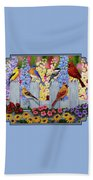 Bird Painting - Spring Garden Party Beach Towel by Crista Forest