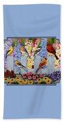 Bird Painting - Spring Garden Party Beach Sheet by Crista Forest