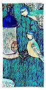 Bird People The Bluetit Family Beach Towel by Sushila Burgess