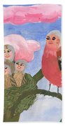 Bird People The Chaffinch Family Beach Towel