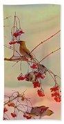Bird Waxwing Beach Towel