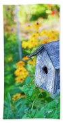 Birdhouse And Flowers Beach Towel