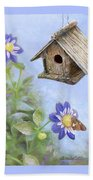 Birdhouse In A Country Garden Beach Towel