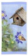 Birdhouse In A Country Garden Beach Sheet