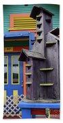 Birdhouses For Colorful Birds 2 Beach Towel