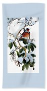 Birds 05 Varied Thrush On Arbutus Robert Bateman Sqs Robert Bateman Beach Towel