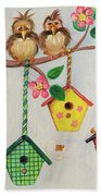 Birds And Birdhouse Beach Towel