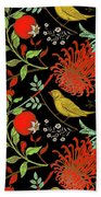 Birds And Flowers Beach Towel