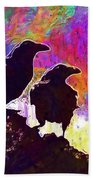 Birds Crow Black  Beach Towel