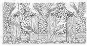 Birds In Flower Garden Coloring Page Beach Towel