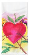 Birds In Love 01 Beach Towel
