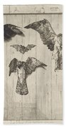 Birds Nailed To A Barn Door (le Haut D'un Battant De Porte) Beach Towel