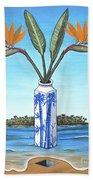 Birds Over Paradise Flowers Beach Towel