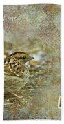 Birthday Greeting Card - White-throated Sparrow Songbird Beach Towel