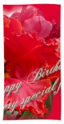 Birthday Special Friend - Red Parrot Tulip Beach Towel