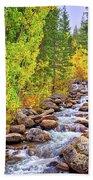 Bishop Creek In Autumn Beach Towel