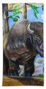 Bison Acrylic Painting Beach Towel