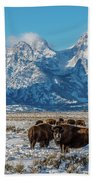 Bison At The Tetons Beach Towel