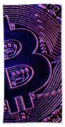 Bitcoin Coins In A Mysterious Lighting Beach Towel