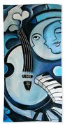 Black And Bleu Beach Towel