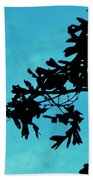 Black And Blue Silhouette Beach Towel