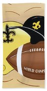 Black And Gold Champs Beach Towel