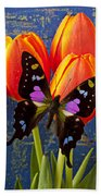 Black And Pink Butterfly Beach Towel