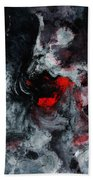Black And Red Abstract Painting  Beach Towel