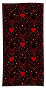 Black And Red Hearts Beach Towel