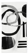 Black And White- Abstract Art Beach Towel