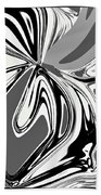 Black And White Abstract Flower Beach Towel
