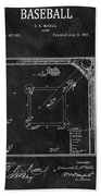 Black And White Baseball Game Patent Beach Towel