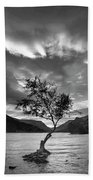 Black And White Beautiful Landscape Image Of Llyn Padarn At Sunr Beach Towel