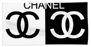 Black And White Chanel Beach Towel