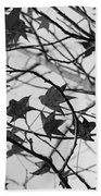 Black And White Leaves Beach Towel