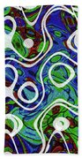 Black And White Lines Overlay Abstract Beach Towel