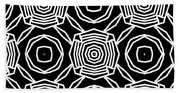 Black And White Modern Roses- Pattern Art By Linda Woods Beach Sheet