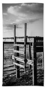 Black And White Old Time Dock Beach Towel