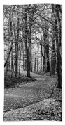 Black And White Path In Autumn  Beach Towel