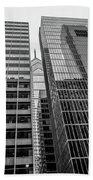 Black And White Philadelphia - Skyscraper Reflections Beach Towel