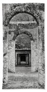 Black And White Photograph Beaufort Historic Church - Chapel Of The Ease Beach Towel