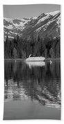 Black And White Reflection On Jackson Lake Wyoming Beach Towel