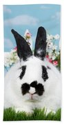 Black And White Spring Bunny Beach Towel