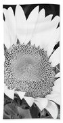 Black And White Sunflower Face Beach Towel