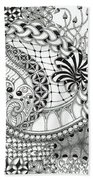 Black And White Tangle Art Beach Towel