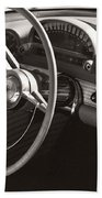Black And White Thunderbird Steering Wheel And Dash Beach Towel