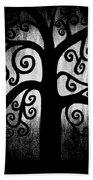 Black And White Tree Beach Towel