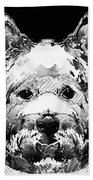 Black And White West Highland Terrier Dog Art Sharon Cummings Beach Sheet